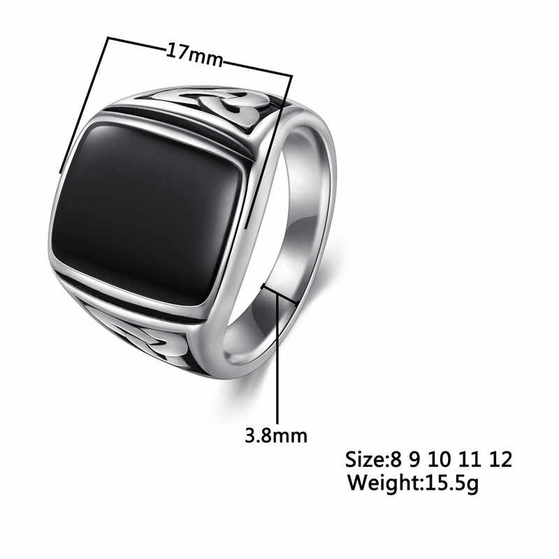 Jiayiqi Punk TITANIUM แหวนเหล็กขนาดใหญ่สีดำหินแหวนผู้ชาย Silver สีสำหรับชายเครื่องประดับ VINTAGE งานแต่งงานของขวัญ