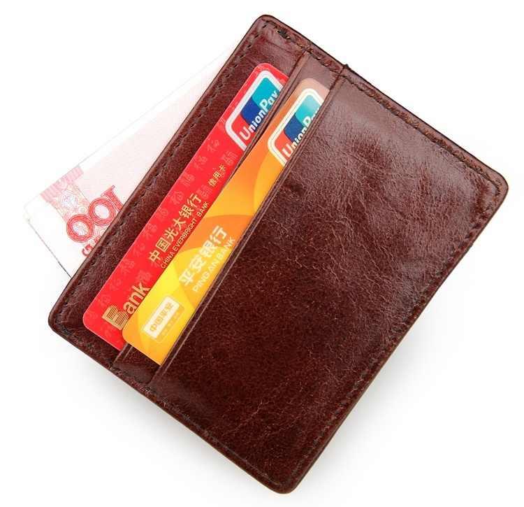 Nesitu rocznika, urządzenie do parzenia kawy/brązowy skóry wołowej proste etui do kart kredytowych dla mężczyzn spódnica mini ze skóry naturalnej portfele # M8101