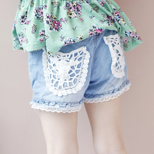 2017 New Fashion Kids Girls   Shorts   Jeans Lace Pocket Demin Summer   Short   Pants