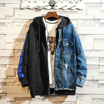 2019 spring autumn new men's denim jacket trend personality stitching fake two-piece embroidery casual hooded jacket size S-3XL