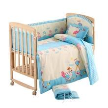 5pcs Baby Bed Clothes Size S/L Baby Bedding Set 100% Cotton Newborn Infant Crib Bedclothes Backrest Pillow Bumpers Mattress