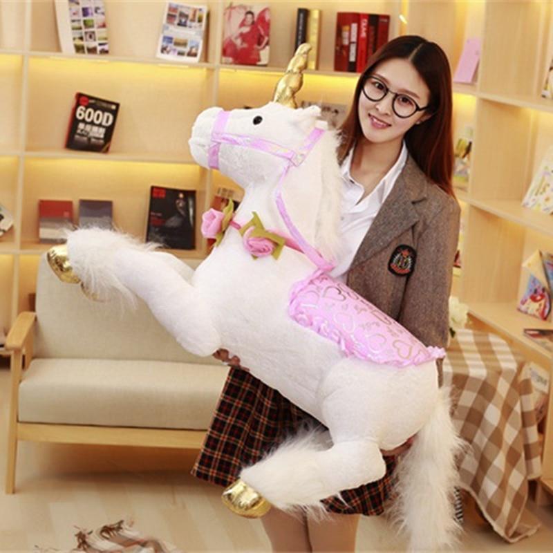 Peluche 100 CM licorne grand Animal en peluche cheval poupée jouet cadeau d'anniversaire photographie décor à la maison rose bleu blanc Pluche Eenhoorn