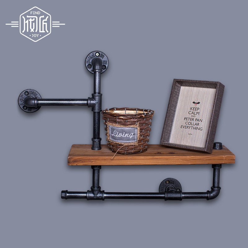 Kayu Saiz 45 * 15cm Vintage Clothing Display Pakaian Store Shelf Hangers Industrial Brought Iron Clothing Rack Pipes Shelf -Z3