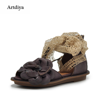 Artdiya Original 2018 New Summer Women Sandals Genuine Leather Handmade Flowers Butterfly knot Flat Soft Comfortable Shoes 03558