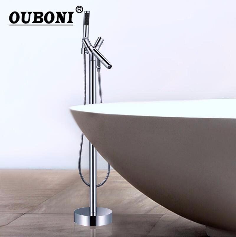 Напольная подставка установлены латунь Ванная комната воды torneira душ смеситель для ванны, смеситель комплект Ванная комната Ванна Пресс сме