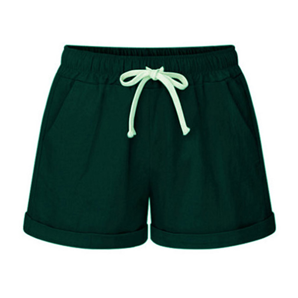 Pantalon Ancho Trainingsbroek Vrouwen 2019 de las mujeres de tamaño bolsillo vendaje sólido pantalones cortos de deporte Ancho de la pierna pantalones cortos Z4
