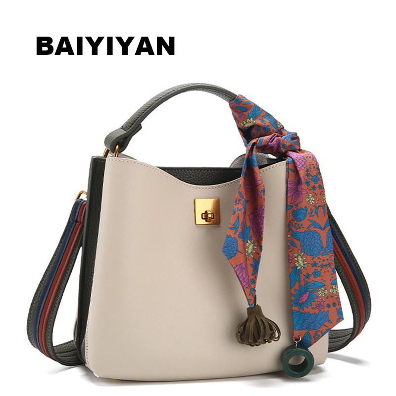 New High Quality PU Leather Bucket Bag Designer Handbag Ladies Fashion Women's Shoulder Bag Top-Handle Tote Bag with Pendants
