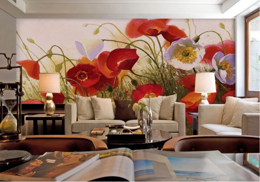 The Background Wall Of The Living Room With Pastoral Poppies