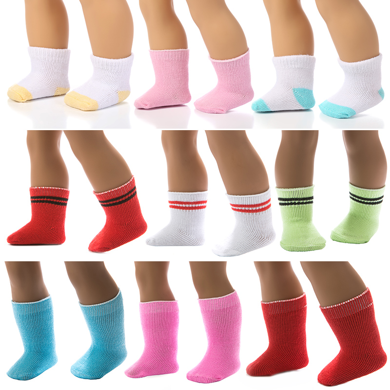 15 Colors Socks Doll Clothes Wear Fit 43cm Baby New Born Doll Clothes,Children Best Birthday Gift Doll Accessories