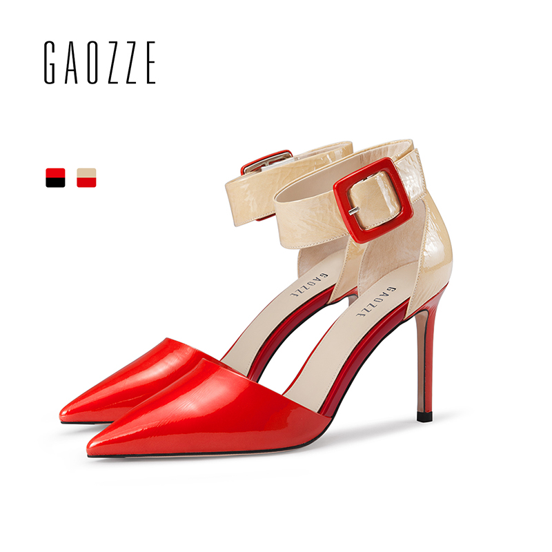 GAOZZE Pointed Toe Fashion Patent Leather Sexy High-Heeled Sandals Pumps Shoes Women Mixed Color Belt Buckle Strap Sandals Pumps цена 2017