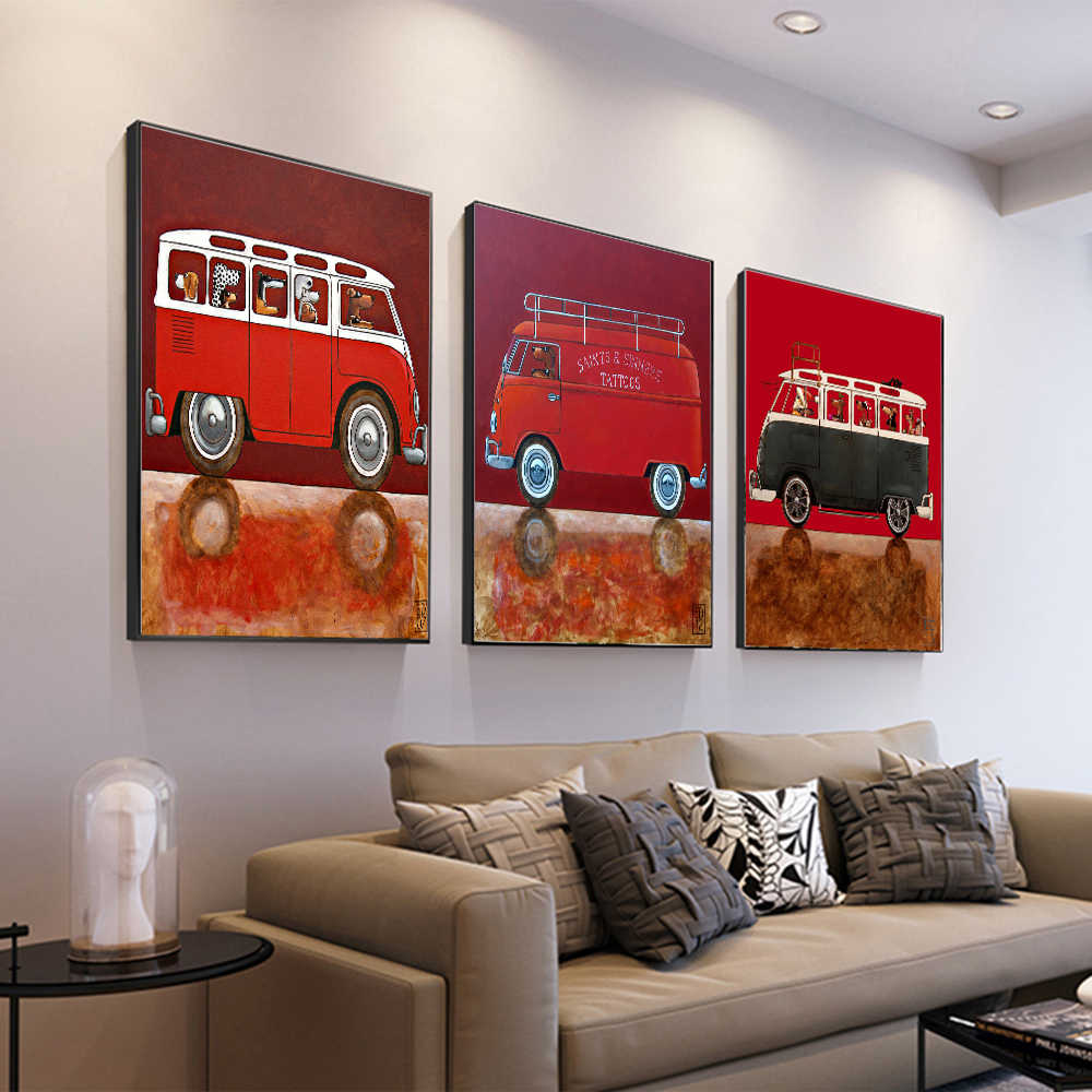 AAHH Bus Pictures/Painting Animal Wall Art Picture Cartoon Posters Canvas Painting Print on Canvas Decor for Home No Frame