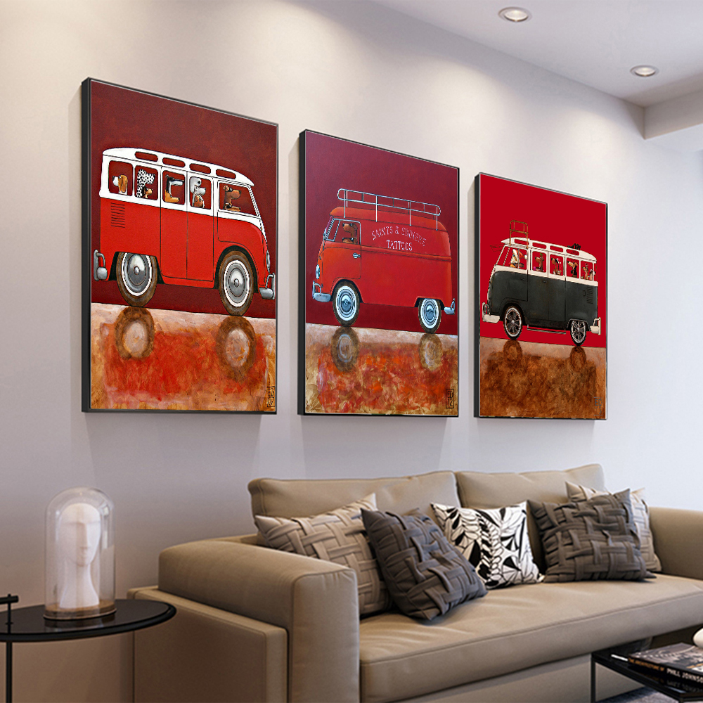 AAHH Bus Pictures/Painting Animal Wall Art Picture Cartoon Posters Canvas Painting Print on Decor for Home No Frame