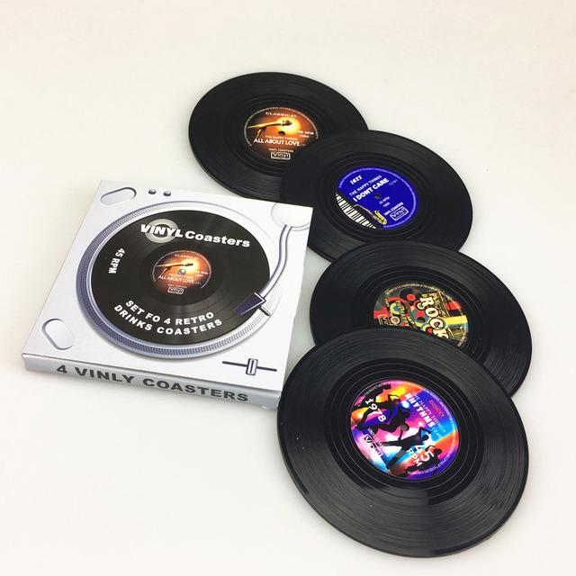 Retro Vinyl Record Style Coasters Set