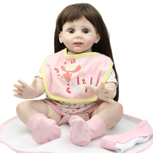Soft  Reborn Baby Girl Doll 24 Inch Handmade Real Baby Doll Silicone Collectible Doll Reborn Babies  Baby Toys  New Year Gift