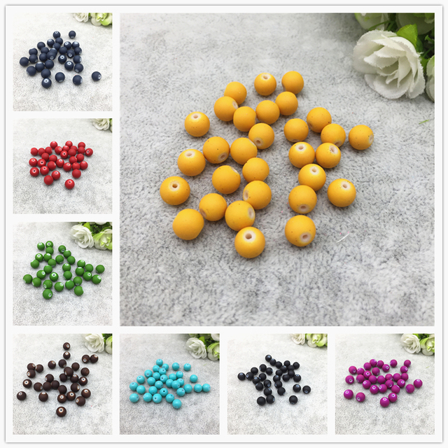 4/6/8/10mm Charm Matte Rubber Neon Round Glass Spacer Loose Beads Jewelry Making Accessory Beads DIY # XPZ000