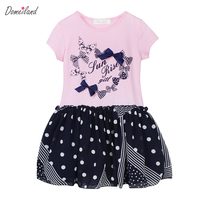 2017 Fashion Summer Domeiland Children Clothes Cute Girl Cotton Cute Print Princess Cotton Bow Dot Dress