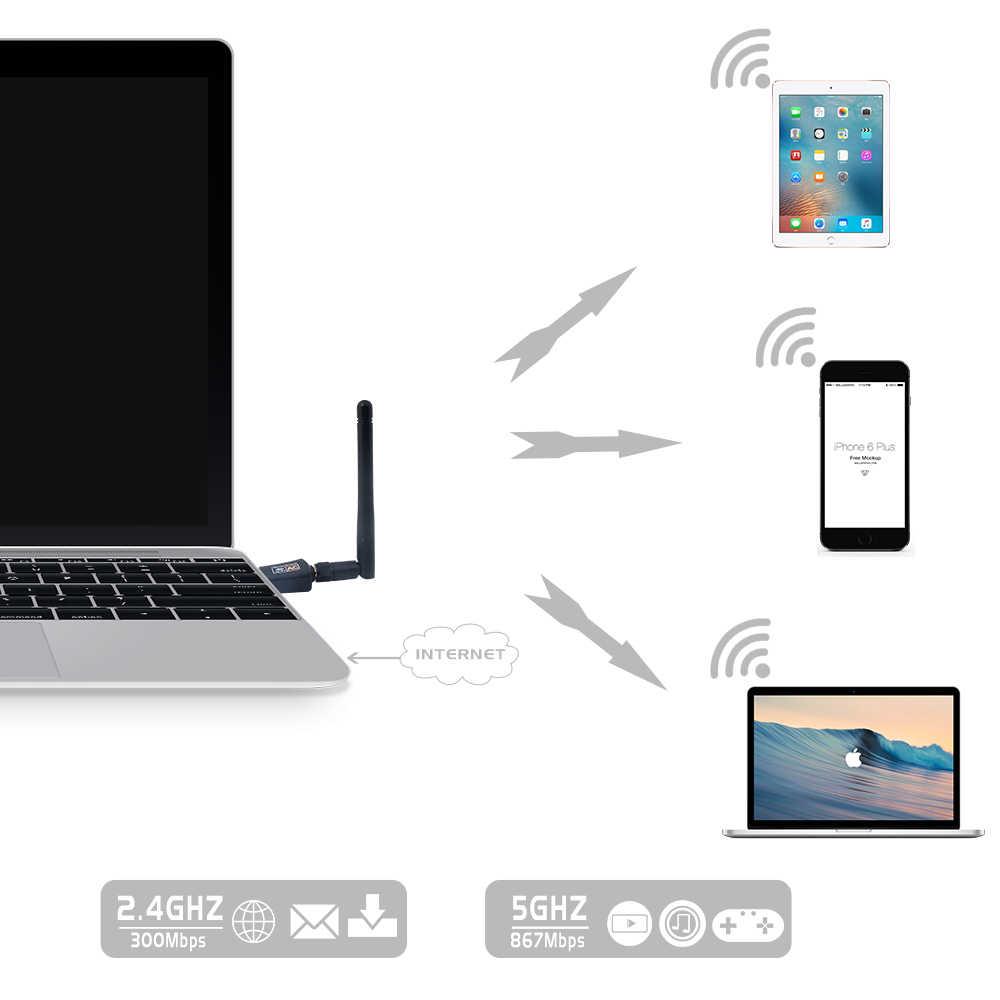 듀얼 밴드 600 mbps 무선 usb wifi 어댑터 realtek rtl8811au 동글 2.4 ghz/5 ghz 802.11ac 안테나 포함 windows mac os linux