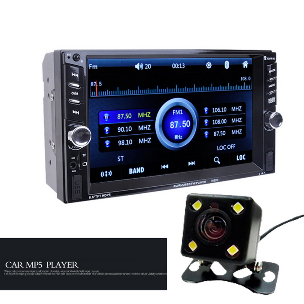 2 DIN Car Radio support DVR input 2 USB 6.6 MP5 MP4 Player Touch Screen Bluetooth Stereo ...