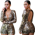 Casual Womens Lady Sequin Short Sleeve Pants Bodycon Jumpsuit Romper Shorts High Waist V Neck Club Playsuit Sequined Playsuit