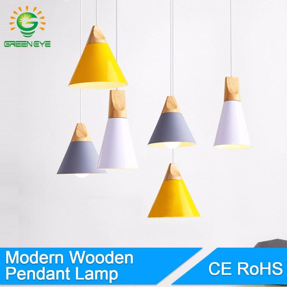 GreenEye 현대 펜던트 조명 Lamparas 다채로운 알루미늄 램프 그늘 나무 조명기구 펜던트 램프 로프트 홈 조명