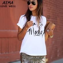 High Quality Women T-shirt 2017 Spring Summer Fashion T-shirt Female Letters Print O-neck Short Sleeve Casual Slim Cotton Tee