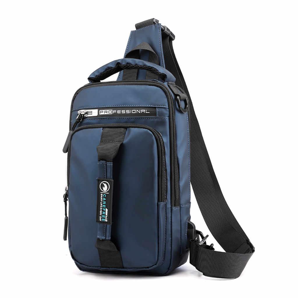 Homens de Moda Ao Ar Livre Oxford USB Versátil Bolsa de Ombro pacote Peito Saco do Mensageiro Saco de mulheres mochila de couro do vintage 0604