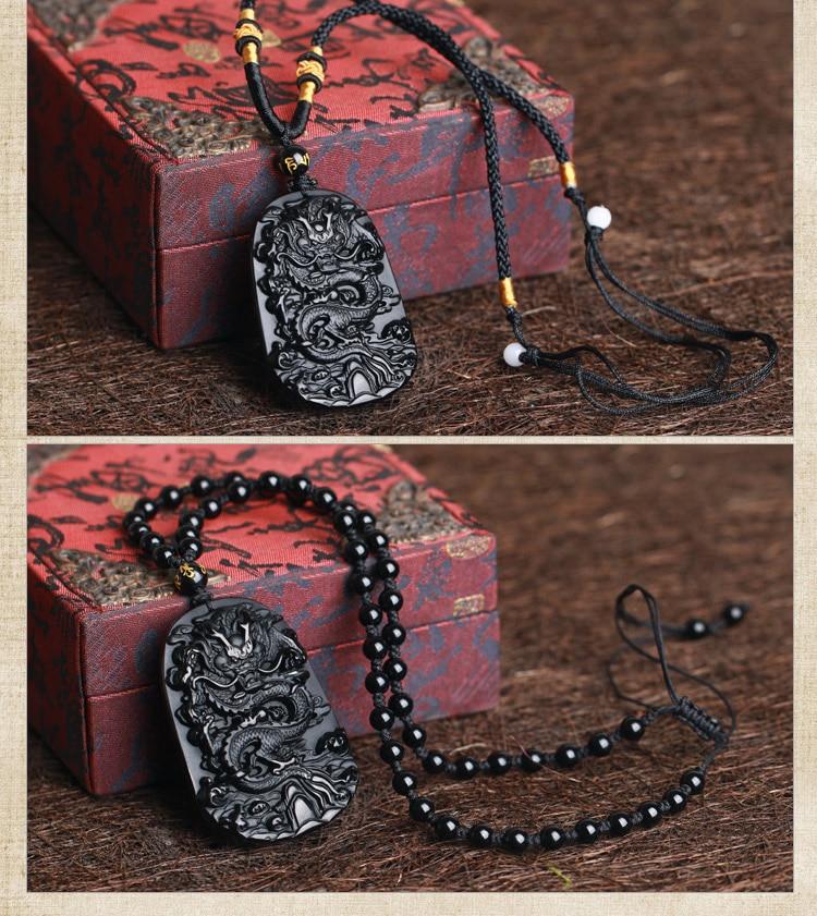 QIANXU Drop Shipping Black Obsidian Dragon Necklace Pendant Jade Pendant Jewelry Fine Jewelry