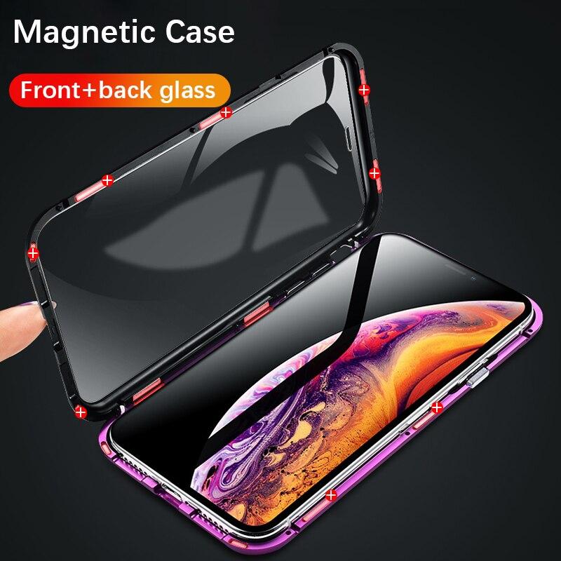 Vidro dupla face Magnética case para iphone XS Max X 7 8 Além de Luxo metal 360 degree capa de proteção Integral para iphone 7 8 Xr