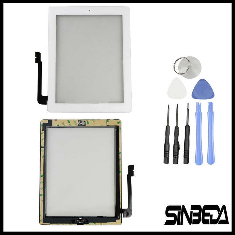 Sinbeda Écran Tactile Digitizer Verre Pour ipad 3 A1416 A1403 A1430 + Bouton + Caméra Titulaire + Outils + Assemblée Adhésif noir ou Blanc