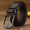 New 2015 Men Leather Belt High Quality black business fashion Men's belts Male long Pin buckle freeshipping