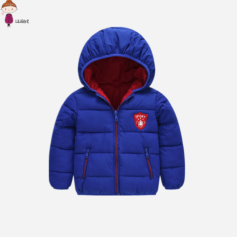 LILIGIRL 2017 New Kids Baby Boy Hooded Jacket Children Outerwear Fashion Baby Girls Badge Down Jacket Coat Warm Clothes 12M-6T