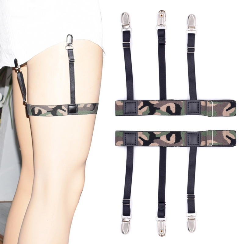 Men Camouflage Adjustable Elastic Shirt Stays Holder Garters Strap Suspender New