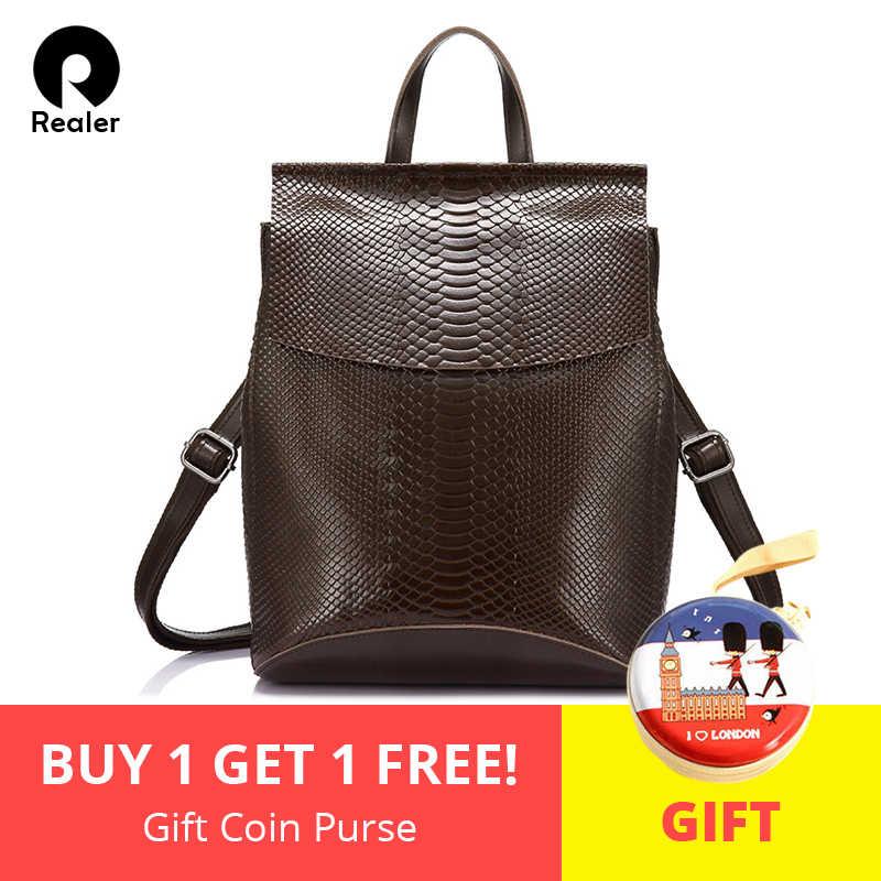 995e2974b48e REALER бренд качественный женский рюкзак из сплит-кожи со змеиным принтом  новинка, школьный рюкзак