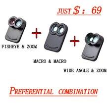 Apexel profesional teléfono móvil lente ojo de pez macro gran angular del telescopio kit de lente de la cámara con el caso trasero para el iphone 7 plus caso