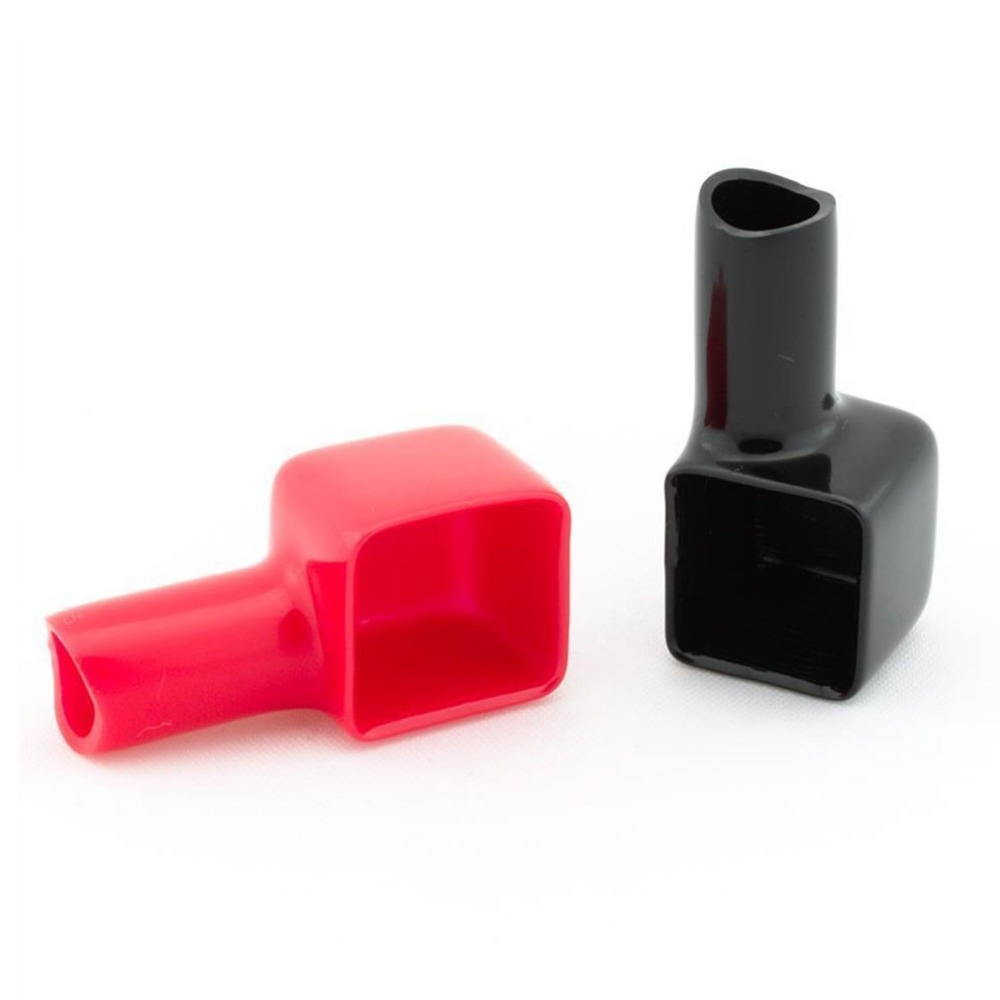 Durable 2pcs Red&Black Square Motorcycle Battery Terminals Rubber Covers Universal fit for Bike Scooter for Kart ATV New