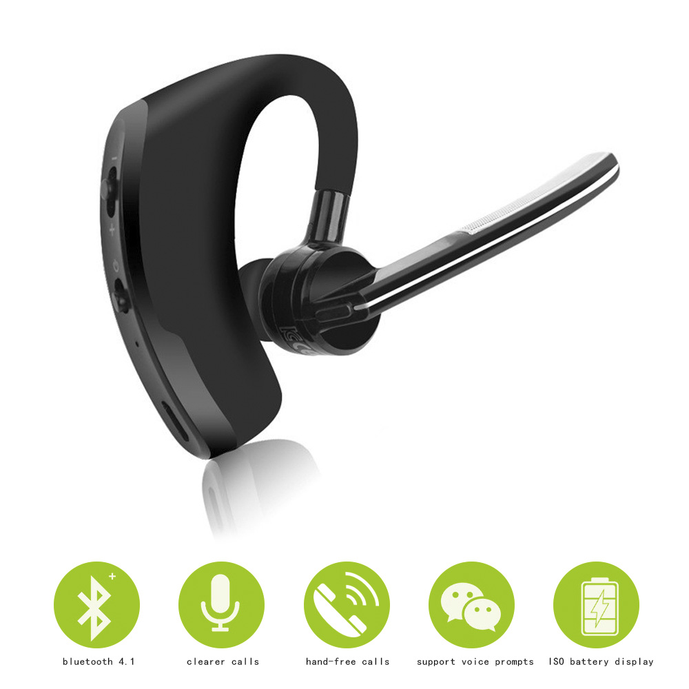 Business Bluetooth Earphone Wireless Handsfree Bluetooth V4.1 Headset With Microphone Headphone Voice For Iphone Sumsung Android bq 618 wireless bluetooth v4 1 edr headset support handsfree earphone with intelligent voice navigation for cellphones tablet