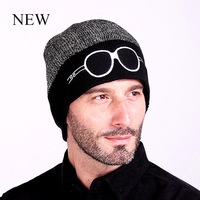 Personality Male Cap Keeping Warm Hats Knitting Glasses Pattern Fashion Caps For Men Winter Hats 2017
