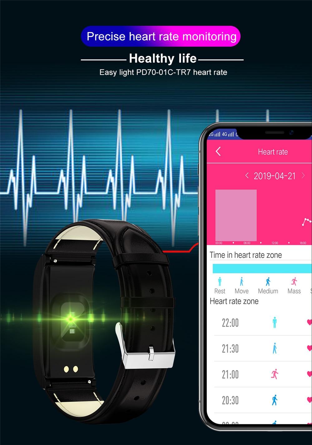 Greentiger AK12 Smart bracelet Men Women IP68 Waterproof Blood Pressure menstrual cycle monitor Fitness Tracker Smart band