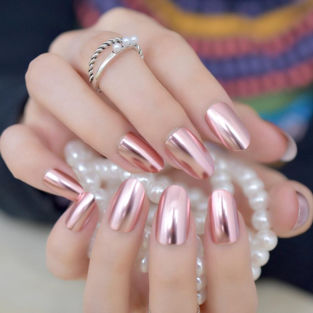 Матовые металлические накладные ногти светильник-розовые металлические зеркальные предварительно разработанные искусственные ногти Вол...