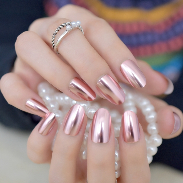 Matte Metal Nail Art Tips Light Pink Metallic Mirror Pre-designed Fake Nails  Fairy Oval Beautiful Shiny Ladies Nails - Matte Metal Nail Art Tips Light Pink Metallic Mirror Pre Designed