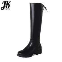 J&K 2 Material Knee Boots Skid Proof Female Shoes Woman Side Zipper Brand Designers Riding Boots Winter For Women's Shoes 2018
