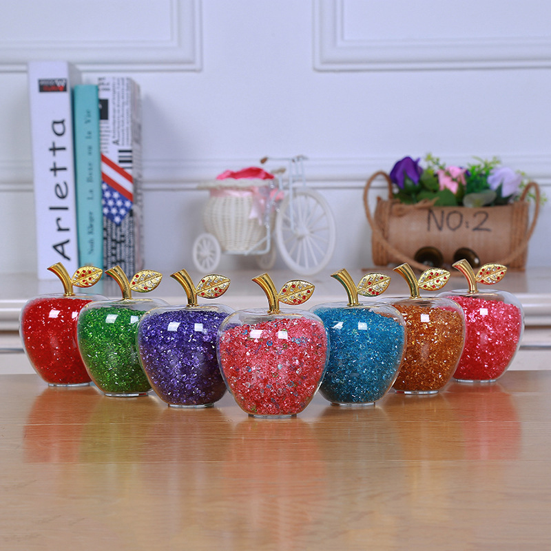 Amazing Love Gifts Hollow Glass Apple fullfill with Color Crystal Rhinestone Figurines Home Decoration Accessories title=