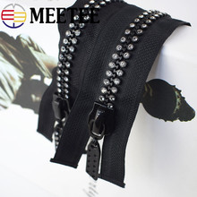 Meetee 10# 60/70/80CM Single Double Slider Resin Zipper Open-end Diamond Shiny Bags Clothing Decor Sew Crafts Accessorie AP641