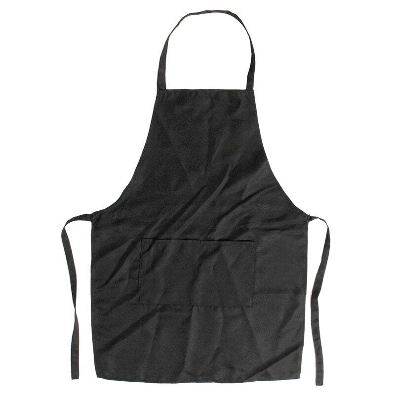 Unisex 2 Pocket Black Kitchen Apron Bib, One Size In Medium