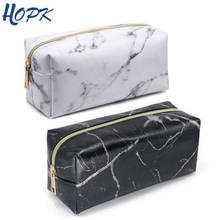 Nordic Style Marble Pencil Case for Girls Makeup Storage Bag Pattern Big Capacity Box School Supplies