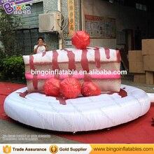 Бесплатная доставка 3 м Высокое гигантские надувные клубничный торт Реплика вечеринок Тип взорвать десерт торт модель игрушки