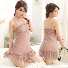Sexy Rosy Brown Babydoll Dress Sheer Lace Lingerie Chemise Nightie O/S M L XL