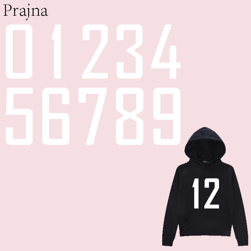 Prajna White Arab Number Iron On Transfer For Clothing Applique Thermal Heat Transfer Vinyl Sticker Stripe On Clothes Washable