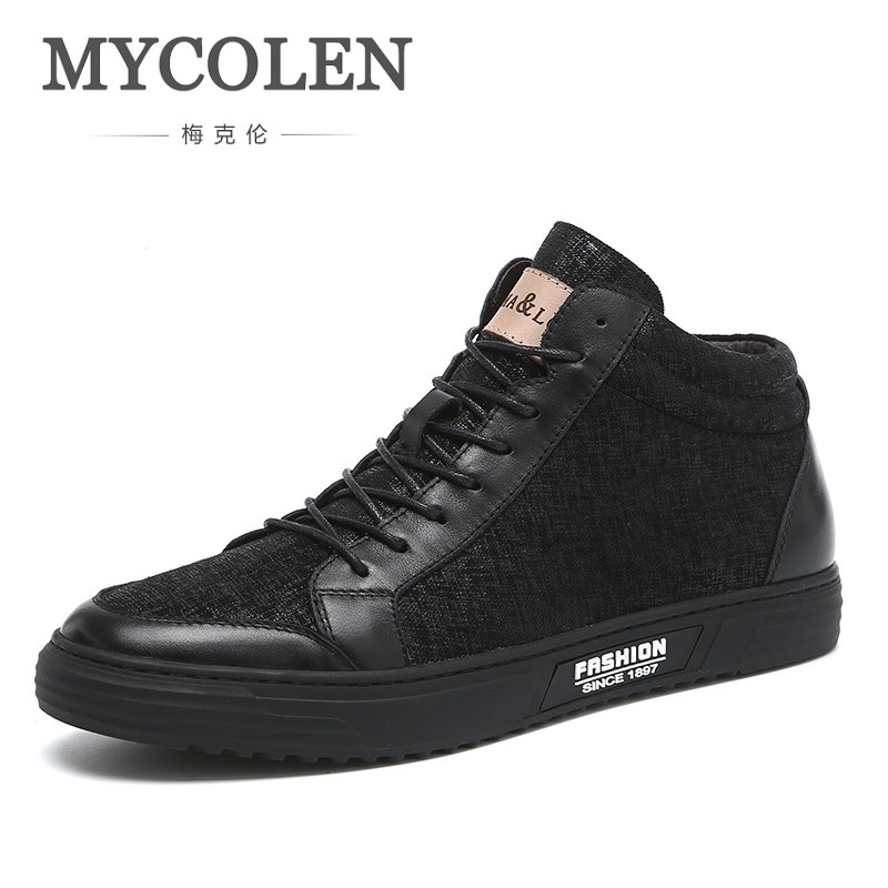 MYCOLEN Canvas Shoes Men Boots Leisure High Top Ankle Male Flats Footwear Spring Autumn Social Trend New Lightweight Men Shoes new arrival patent pu leather men fashion shoes spring autumn summer ankle boots shoes men high top men boots flats shoes
