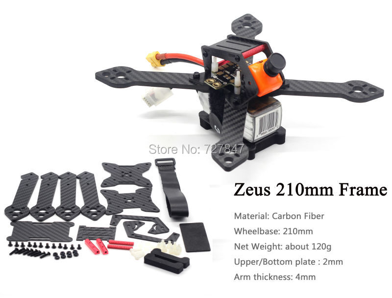 Zeus 210 210mm full Carbon Fiber FPV Quadcopter Frame Kit with 4mm arm for FPV Racing Drone QAV-X 214 Martian II